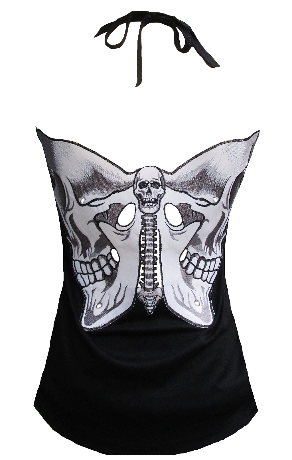 Rockabilly Punk Rock Baby Woman Black Tank Top Shirt Bat Butterfly Skull